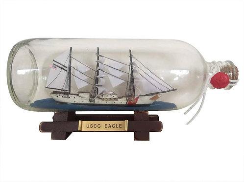 """United States Coast Guard USCG Eagle Model Ship In A Glass Bottle 9"""""""