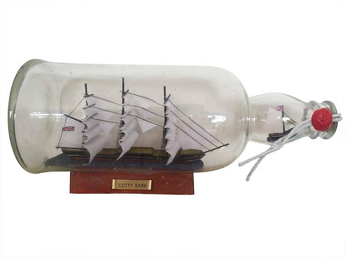 Cutty Sark Model Ship in a Glass Bottle 11""