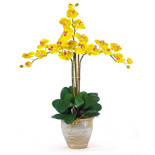 Triple Stem Phalaenopsis Silk Orchid Arrangement #1017-GY