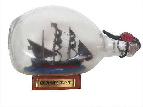 Wooden Blackbeard's Queen Anne's Revenge Pirate Ship in a Glass Bottle 11""