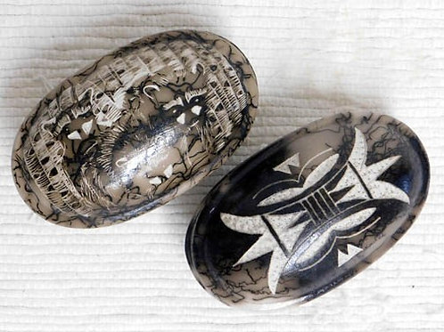Native American Made Ceramic Horsehair Small Oval Jewelry Box