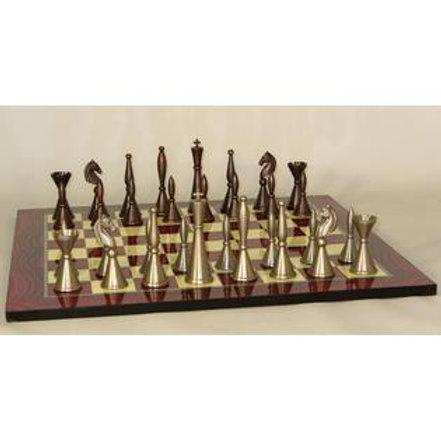 """Solid Brass Art Deco Men Bronze & Pewter Fin 4"""" King: Red Grain Decoupage B"""