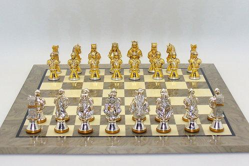 Camelot solid Zinc men on Grey Ivory Board