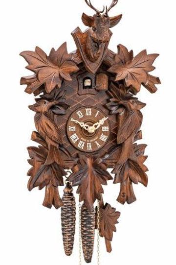 ONE DAY Cuckoo Clock 7 leaves, 2 birds, head of a deer