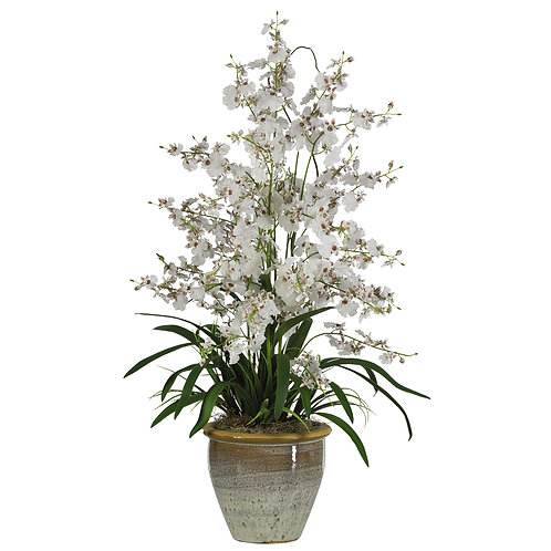 Triple Dancing Lady Silk Flower Arrangement #1070-WH