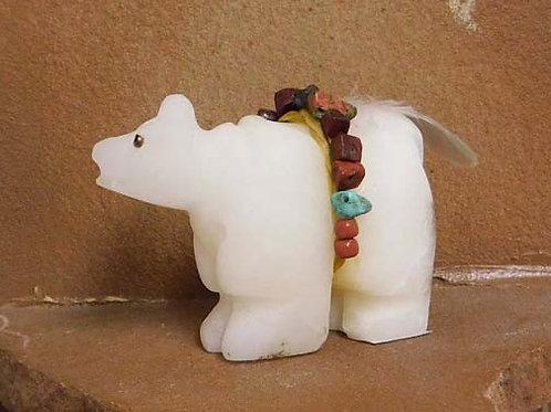 Native American Apache Carved Alabaster Bear Sculpture