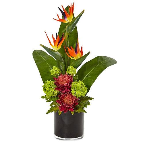 Bird of Paradise Tropical Arrangement in Black Vase #1512