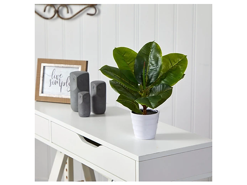 """11"""" Rubber Leaf Artificial Plant in White Planter"""