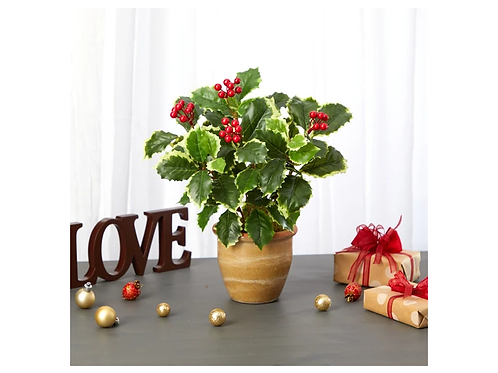 """14"""" Variegated Holly Leaf Artificial Plant in Ceramic Planter"""