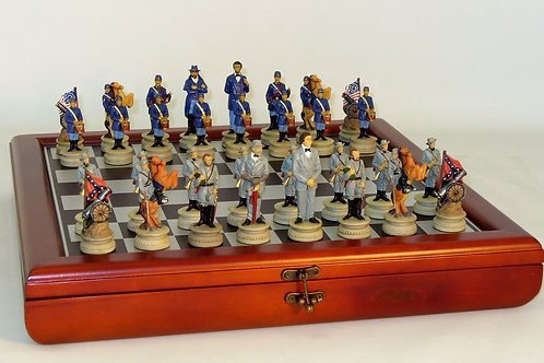 Royal Chess R1861-CCT Civil War Generals in Chest - Chess Sets Resin