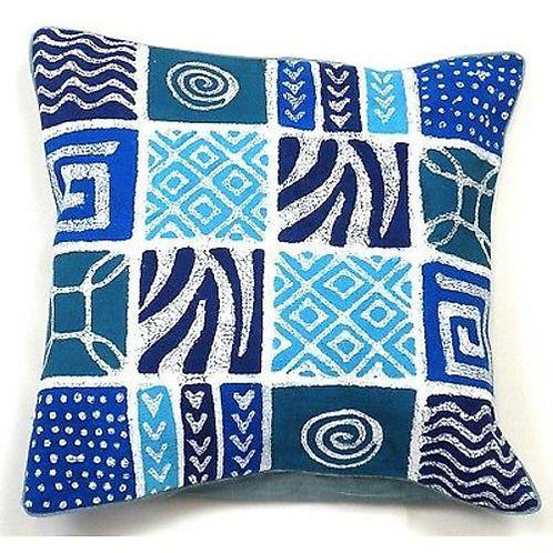 HANDMADE BLUE PATCHES BATIK CUSHION COVER