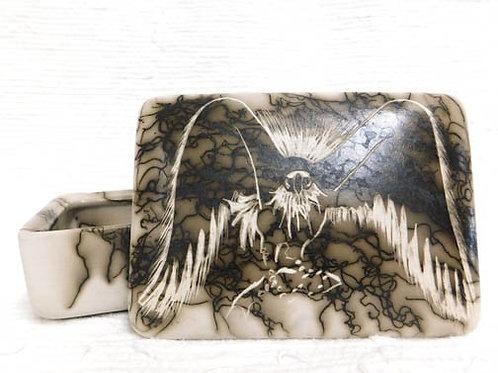 Native American Made Ceramic Horsehair Medium Rectangular Jewelry Box