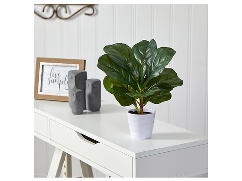 """11"""" Fiddle Leaf Artificial Plant in White Planter"""