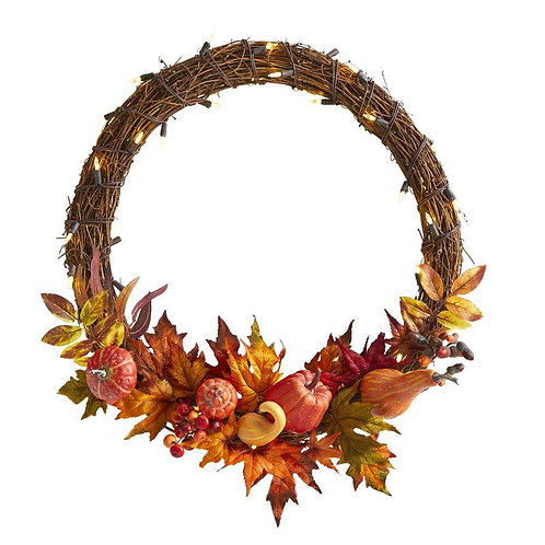 """22"""" Pumpkin and Maple Artificial Autumn Wreath with 50 Warm White LED Lights"""