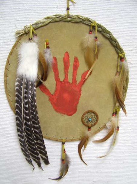 "15"" - Native American Navajo Made Ceremonial Shield with Handprint"