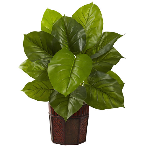 Large Leaf Philodendron w/Decorative Planter (Real Touch) #6733