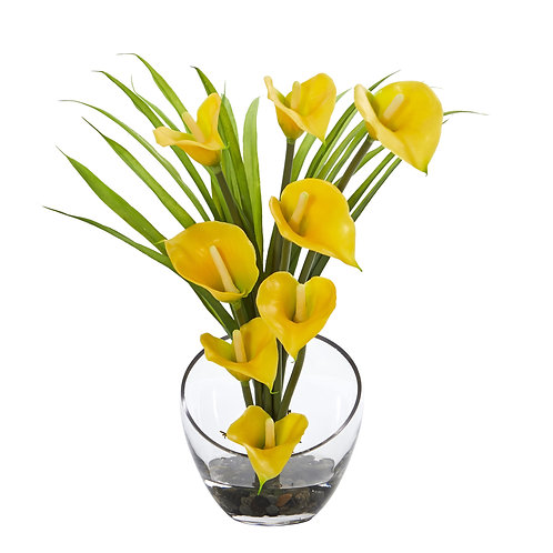 "15.5"" Calla Lily and Grass Artificial Arrangement in Vase #1530-YL"