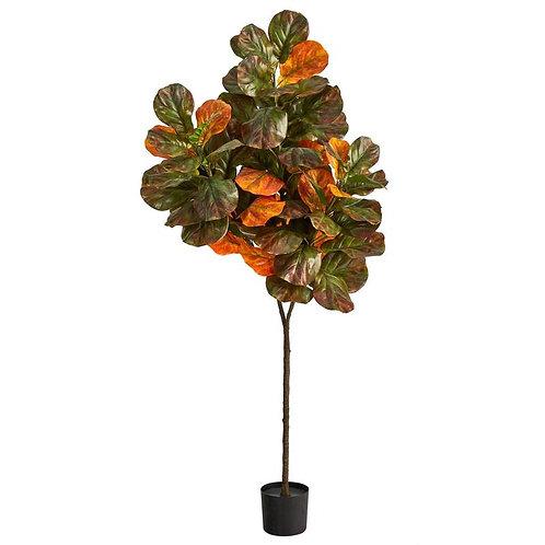 6' Autumn Fiddle Leaf Artificial Tree SKU: T2799
