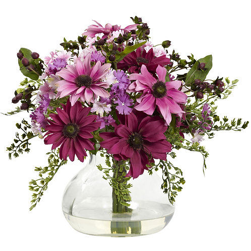 Mixed Daisy Arrangement W/Vase (Silk)