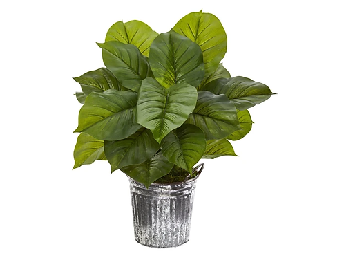 """26"""" Large Philodendron Artificial Plant in Vintage Metal Pail"""