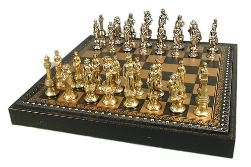 Florence Metal Chessmen on Pressed Leather Chest/Board 99M-219GN