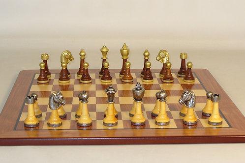 Staunton Metal & Natural Wood Chess Set with Padauk & Maple Veneer Board
