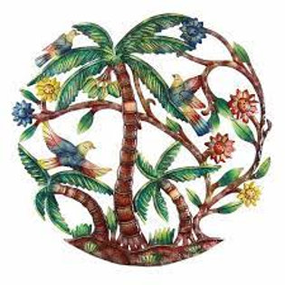 24 in. Colorful Palm Trees Hand Painted Metal Wall Art
