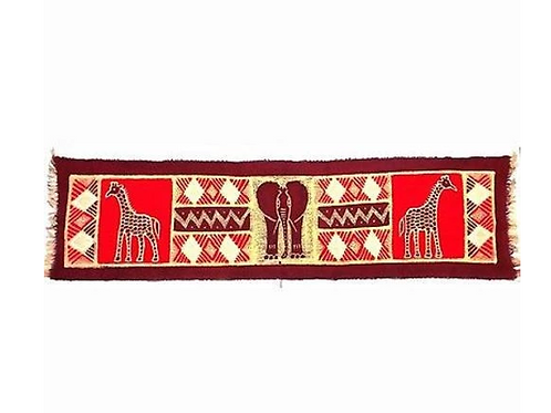 HORIZONTAL MAROON ELEPHANT WITH GIRAFFES BATIK