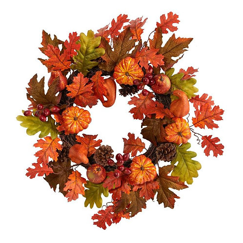 """20"""" Autumn Assorted Maple Leaf, Pumpkin Gourd, Pinecone and Berry Artificial Fal"""