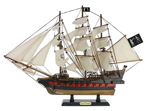 Wooden Black Bart's Royal Fortune White Sails Limited Model Pirate Ship 26""
