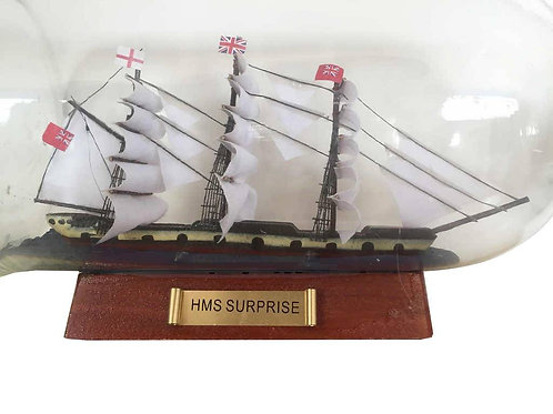 Master And Commander HMS Surprise Model Ship in a Glass Bottle 11""