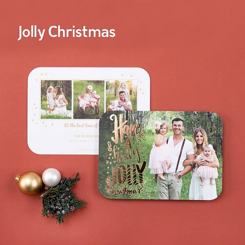 """""""Jolly Christmas"""" - Photo Holiday Cards (set of 25)"""