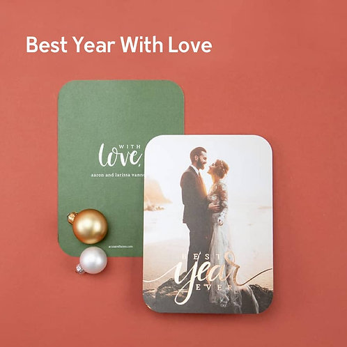 """""""Best Year with Love"""" - Photo Holiday Cards (set of 25)"""