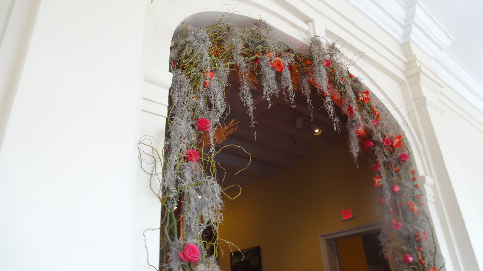 Spanish moss floral arch
