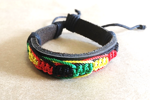 Hand-Braided String and Leather Band Bracelet