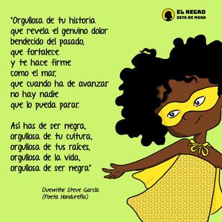 Compartirnos este bello poema, hecho por un hombre Garífuna, Dwight Steve Garcia Güity. Ahora Candelaria lo comparte para que a su vez, sea compartido por toda nuestra comunidad, a propósito de la conmemoración del día internacional de la mujer afrodescendiente.