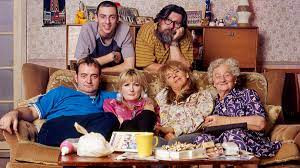 The Royle Family cast: Dave Best (Craig Cash); Antony Royle (Ralf Little); Denise Royle (Caroline Aherne); Jim Royle (Ricky Tomlinson); Barbara Royle (Sue Johnson); and Norma Speakman (Nana) (Liz Smith)
