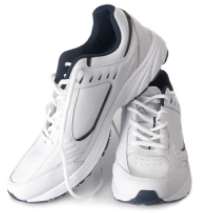 a pair of white sports trainers