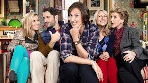 The Miranda cast: Tilly (Sally Phillips); Gary Preston (Tom Ellis); Miranda (Miranda Hart); Stevie Sutton (Sarah Hadland); and Penny (Patricia Hodge)