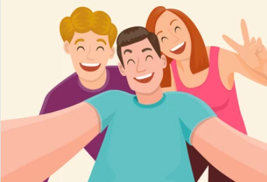 three cartoon friends smiling