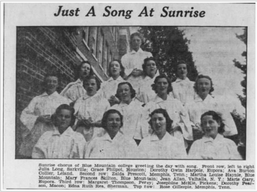 Blue Mountain students in the Daily Clarion-Ledger in Jackson, MS on December 12, 1938 singing early in the morning.