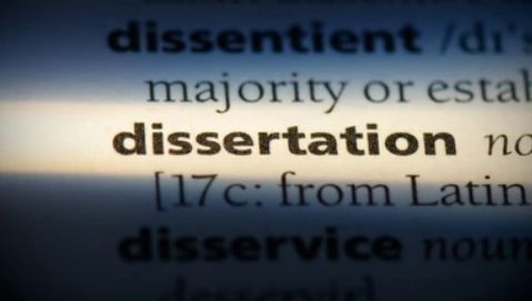 an image from a dictionary with the word 'dissertation' highlighted