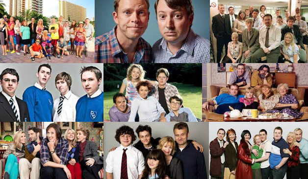 a collage of noughties British sitcoms, including: Benidorm; Peep Show; The Office (UK); The Inbetweeners; My Family; The Royle Family; Miranda; Outnumbered; and Gavin and Stacey