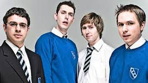 The cast of The Inbetweeners: Will McKensie (Simon Bird); Neil Sutherland (Blake Harrison); Jay Cartwright (James Buckley); and Simon Cooper (Joe Thomas)