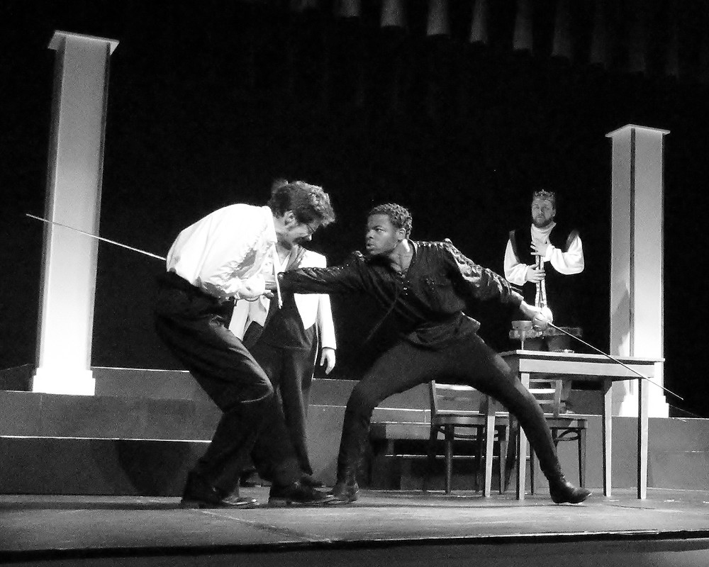 """""""The Final Battle""""--From left to right: Ben Mann """"Laertes,"""" Isaiah Battle """"Hamlet,"""" and Joey Ellis """"King Claudius"""""""