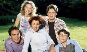 The My Family cast: Ben Harper (Robert Lindsay); Janey Harper (Daniela Denby-Ashe); Susan Harper (Zoe Wanamaker); Nick Harper (Kris Marshall) and Michael Harper (Gabriel Thompson)