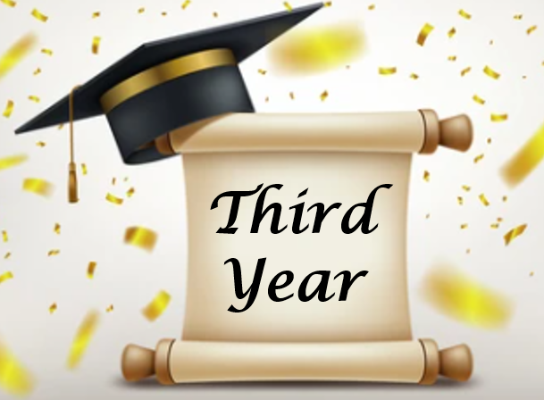 a university scroll with a black university cap with a gold band around the top with a gold tassel hanging down. On the scroll are the words 'third year' in black writing. There are gold glitter strips falling down around it