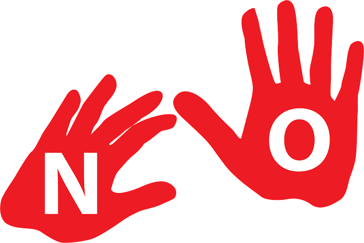 two red hands, one with an 'n' and one with an 'o' in the palms of them, spelling out 'no'