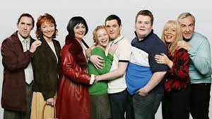 The Gavin and Stacey cast: Bryn West (Rob Brydon); Gwen West (Melanie Walters); Nessa Jenkins (Ruth Jones); Stacey West (Joanna Page); Gavin Shipman (Matthew Horne); Smithy (James Cordon); Pam Shipman (Alison Steadman); and Mick Shipman (Larry Lamb)
