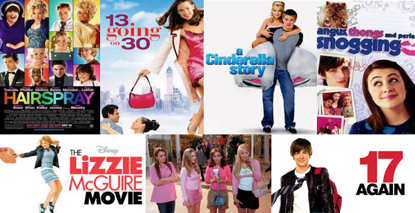 film posters for Hairspray; 13 going on 30; a cinderella story; angus, thongs and perfect snogging; the lizzie mcguire movie; mean girls; and 17 again
